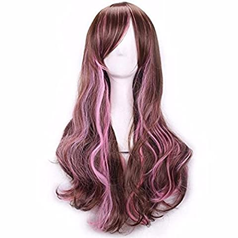 Wig,Baomabao Women Lady Long Hair Wig Curly Wavy Synthetic Anime Cosplay Party (C)