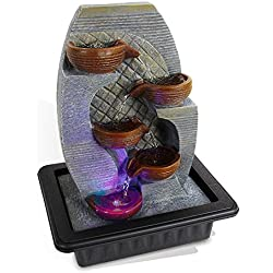 SereneLife 4-Tier Desktop Electric Water Fountain Decor w/LED Indoor Outdoor Portable Tabletop Zen Meditation Waterfall Kit Includes Submersible Pump and 12V Power Adapter-SLTWF87LED