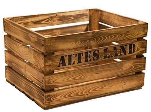 Kistenkolli Altes Land Juego de 3Massive fruta (manzana caja Vino Caja de madera multiusos + + + 49 x 42x 31cm - GEFLAMMT MIT AUFSCHRIFT ALTES LAND: ...