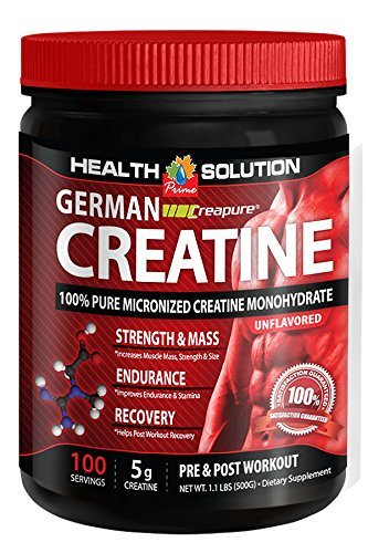 German Creapure Creatine 100% Pure Micronized Monohydrate Powder 500g (3 Can) by Health Solution Prime