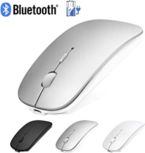 Bluetooth Mouse for Laptop/iPad Pro Air(iPad OS 13 and Above)/MacBook Pro Air, ANEWKODI Rechargeable Wireless Mouse with Slim Silent Click & 3 Adjustable DPI Levels for PC, Bluetooth 4.0 Silver