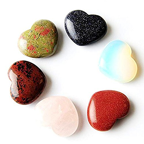 6 Pcs Gemstone Crystal Peaceful & Romantic Heart -1 1/8