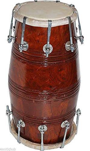 DHOLAK DRUM~BOLT TUNED~SHEESHAM WOOD~DHOLAKI~BHAJAN~KIRTAN~YOGA~HAND MADE INDIAN by SAI MUSICAL