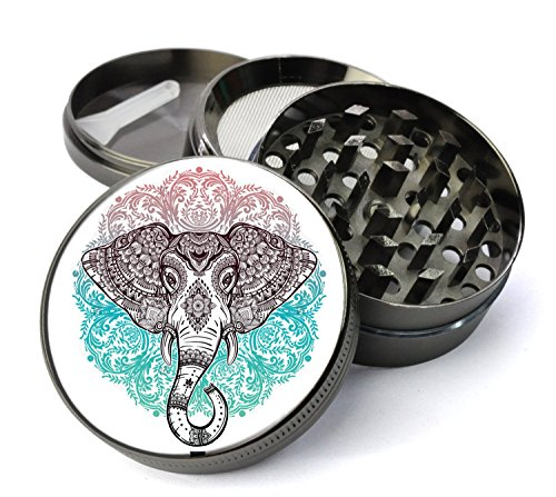 Expression Gifts Grinder_76 5 Piece Elephant Mandala Spice Tobacco Herb Grinder with Pollen/Keef Catcher, X-Large
