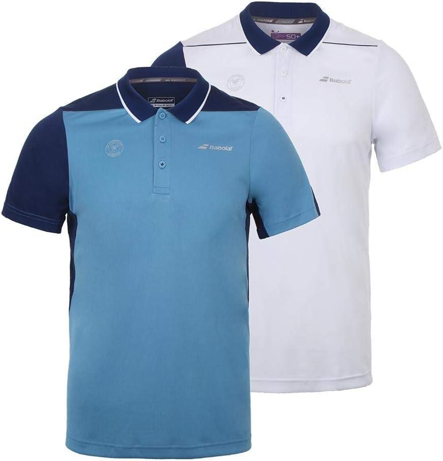 Babolat Polo Hombre Perf Men Wimbledon Azul/Blanco 2018, Blanco, L ...