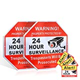 DateDirect Security Signs,Reflective Warning 24 Hour Surveillance, No Trespassing Metal Warning Aluminum Octagon 12''x12'' Rust Free for home business (2-pack 12''x12''Metal video surveillance sign)