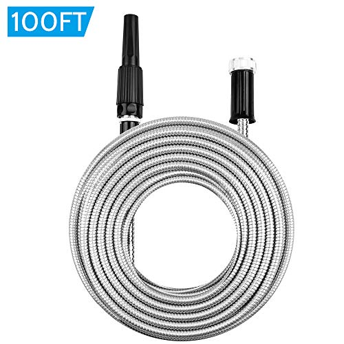 - AGM Stainless Steel Garden Water Hose 100ft, Metal Garden Hose with Nozzle, Lightweight Kink-Free Flexible, High Water Flow Spray for Watering Lawn, Yard, Car Wash