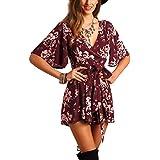 SheIn Women's V Neck Floral Print Tie Waist Short Romper Jumpsuit X-Large #Burgundy
