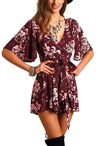 SheIn Women's V Neck Floral Print Tie Waist Short Romper Jumpsuit Small #Burgundy (Womens Jumper Flower Dress)