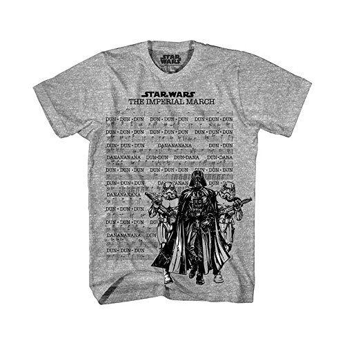 Star Wars Imperial March Sheet Adult T-Shirt - Heather Grey -