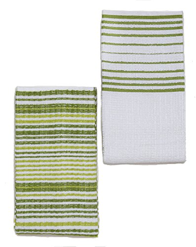 Aka Green (Kuk's Cuisine Kitchen Towels - Ultra Absorbent - 100% Cotton - Size: JUMBO (25.5 in x 17.7 in) - AKA European Tea Towels, Dish Cloths, Dish Towels - Stripe Pattern - Set of Two (Green & White))