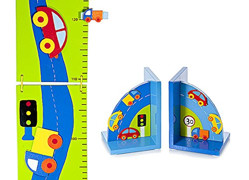 Kids Car Themed Room Accessories Height Chart and Bookends for Boys Room Mousehouse Gifts