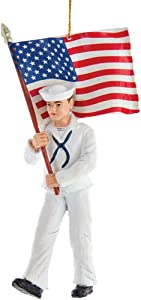 Kurt Adler U.S. Navy Sailor Hanging Ornament, 5.75 inches Tall
