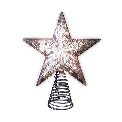Home Accents Holiday 8.5 inch Silver Mercury Glass Star Tree Topper with 10 Mini Clear Lights and 30 inch Cord