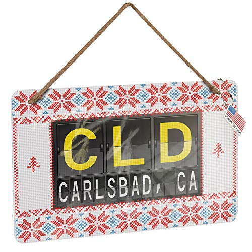 Air Cld (NEONBLOND Metal Sign CLD Airport Code for Carlsbad, CA Vintage Christmas Decoration)