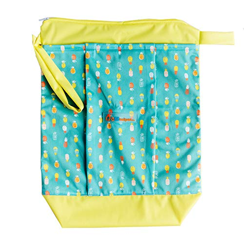 Blue Diaper Clutch - Lil Helper Dry/Wet Bag for Diapers - Waterproof & Secure (Pineapples)