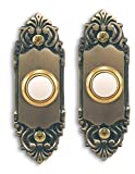 Heath Zenith SL-925-02 Wired Door Chime Push Button, Antique Brass with Lighted Center (2 PACK)