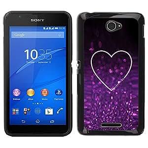 Design for Girls Plastic Cover Case FOR Sony Xperia E4 Glitter Purple Sparkling Heart Love OBBA