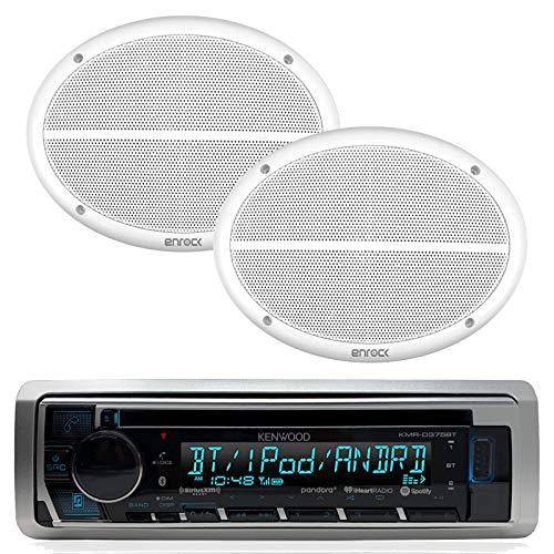 Kenwood Bluetooth USB CD iPod Radio, 2-Enrock 2-Way 6x9 White Marine Speaker Set (Kenwood 6x9 3 Way Speakers)