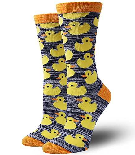 Chalier Novelty Funny Patterned Dress Crew Cool Crazy Socks for Men & Women, Yellow Ducks, One Size