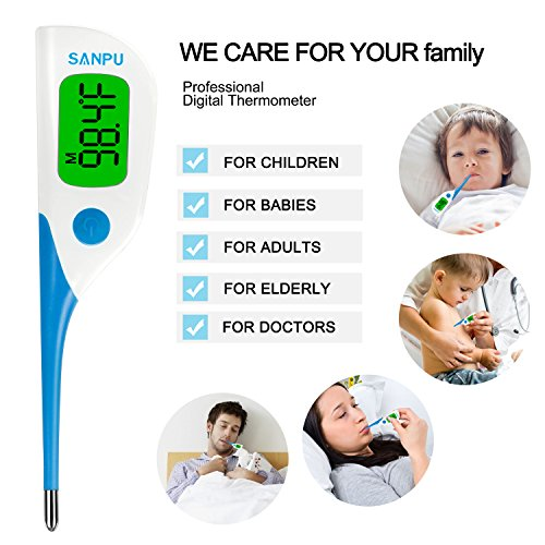SANPU Digital Oral Thermometer Fast 8 Seconds Reading Rectal and Armpit Thermometer for Baby and Adults with Fever Indicator with FDA and CE Approved by SANPU (Image #4)
