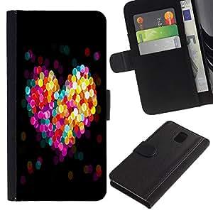 Samsung Galaxy Note 3 III N9000 N9002 N9005 , la tarjeta de Crédito Slots PU Funda de cuero Monedero caso cubierta de piel (Bokeh Colorful Heart)