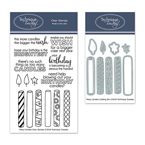 Many Candles Birthday Clear Stamps with Matching Metal Dies | Clear Rubber Stamps | Photopolymer Stamps | Die Cuts | Craft Dies | Card Making Supplies