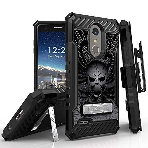 (LG K30 Case (X410), LG Phoenix Plus, LG Premier Pro LTE, LG K10 2018 Phone Case, 12 Ft Military Grade Drop Tested Belt Clip Kick Stand Hybrid Shockproof Armor Cover (Skull))