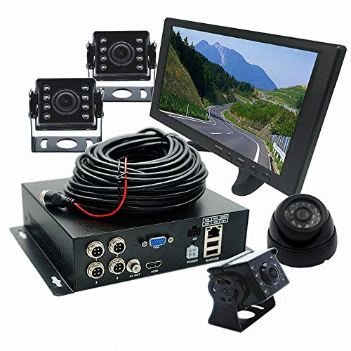 (WeniChen 4 Channel 1080P HDVR Kit for Vehicle Bus Truck Trailer - 4CH Hard Disk Video Recorder + 4X 720P Front Side Rear View Cameras + 10.1