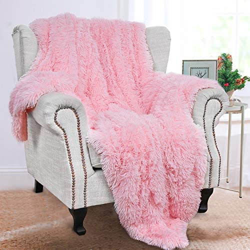 BENRON Plush Throw Blankets, Super Soft Shaggy Fuzzy Sherpa Blanket, Cozy Warm Lightweight Fluffy Faux Fur Blankets for Bed Couch Sofa Photo Props Home Decor, Washable 50''X60 '' Pink