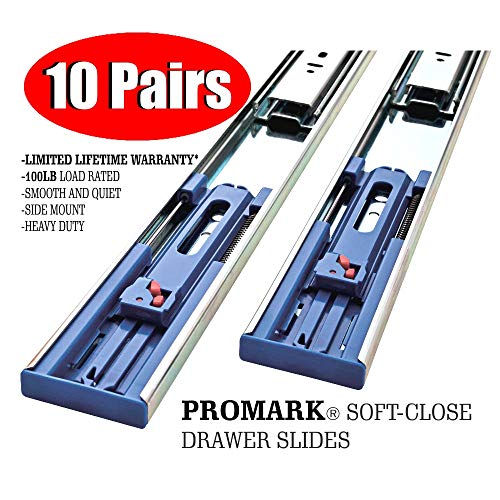 Promark 22 Inch 100 LB Capacity Full Extension Soft / Self Close Ball Bearing Side Mount Drawer Slides - 10 Pair Pack (Full Slides Extension Ball Bearing)