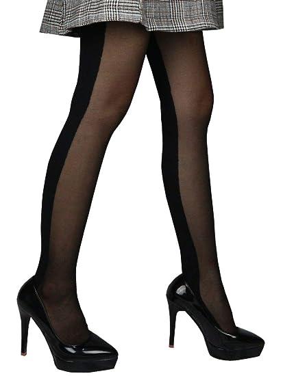 442e40e693693 Women Fashion Modern Novelty Diamond Striped Pattern Sheer Stockings  Pantyhose (back black shade)