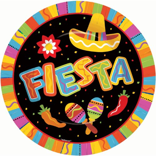 Fiesta Dinner Party - Amscan Fiesta Fun Cinco de Mayo Party Round Dinner Plates Tableware, Paper, 10