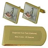 Magic Wizzard Hat Gold-tone Cufflinks Money Clip Engraved Gift Set