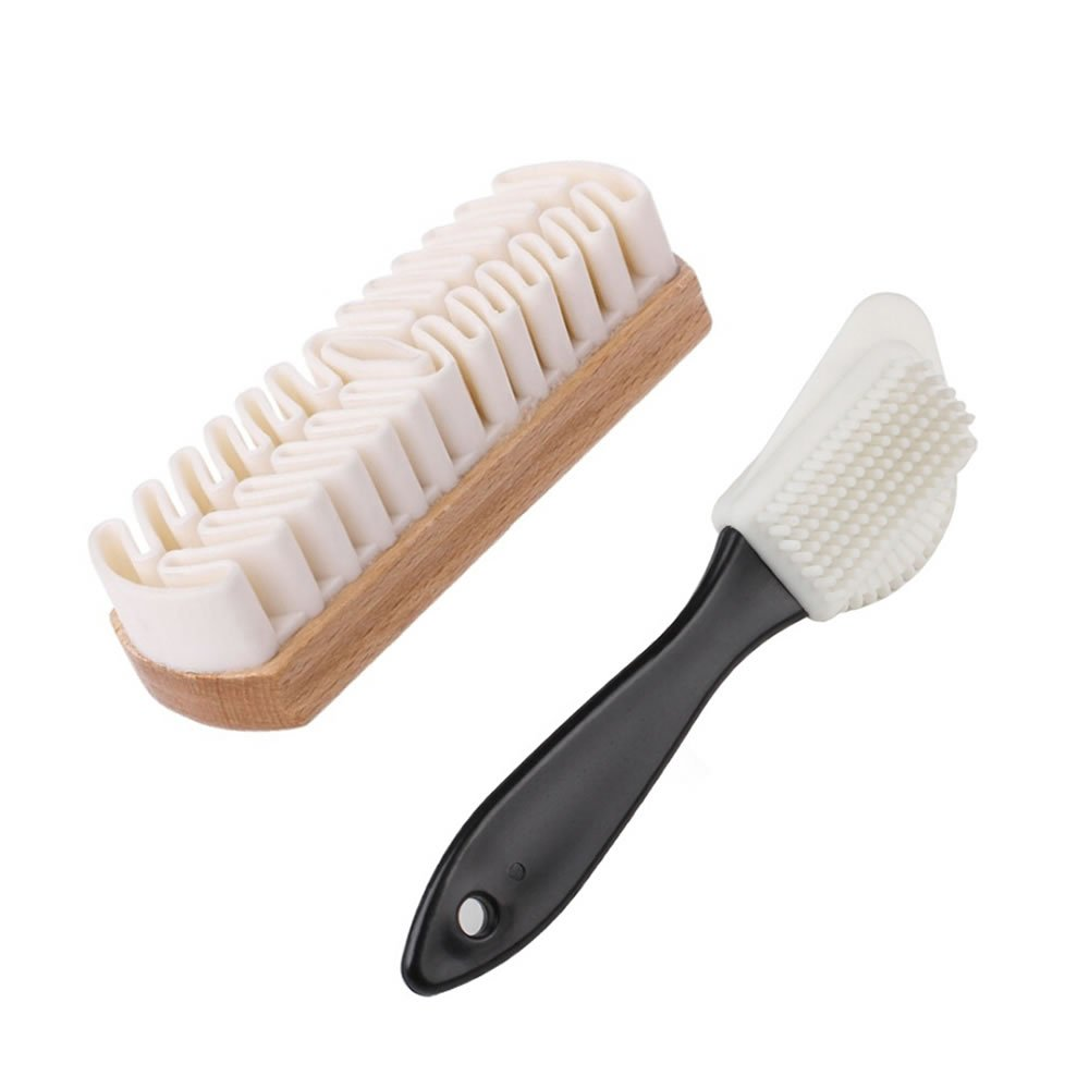 TXIN Suede and Nubuck Leather Cleaning Shoes Brushes, Wooden Rubber Crepe Brush and 4-Way Brushes (2 Pack)