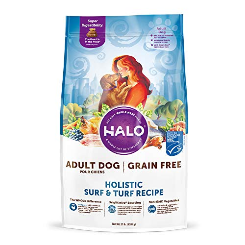 HALO, Purely for Pets 39213 Grain Free Natural Dry Dog Food, Surf & Turf Recipe, 21 lb Bag, Brown