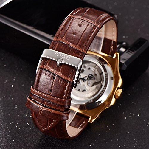 Skeleton Mens Automatic Mechanical Mens Wrist Watch - ManChDa Brown Genuine Leather Moon Sun Phase Blue Dial by ManChDa (Image #3)