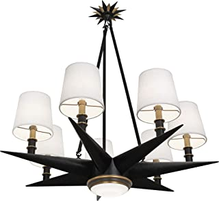 product image for Robert Abbey 1018 Cosmos - Seven Light Chandelier with LED Downlight, Deep Patina Bronze/Warm Brass Finish with Oyster Linen Fabric Shade
