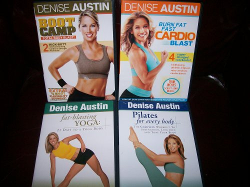 Denise Austin 4 DVD Set Workout Collection: BOOTCAMP (Cardio, Strength & Flexibility workouts) Total Body Blast! + BURN FAT FAST CARDIO BLAST (4 Workouts) + FAT-BLASTING YOGA (3 Workouts) + PILATES FOR EVERY BODY. Condition Your Heart, Crunch Calories and by