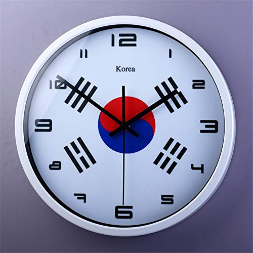 Stylish Silent Wall Clock Home Kitchen Office Living Room School Clock Easy to Read Simple Restaurant Cafe Decorated Living Room Korea Flag Creative Clock Quartz Clock Silent Wall Clock 12 inches (Flag Dial Bezel)
