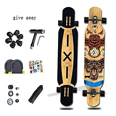 Aniseed Skateboards Longboards Drop Through Downhill/Cruiser Freeride Deck Complete Longboard 46 Inch Time Monster Pattern : Sports & Outdoors
