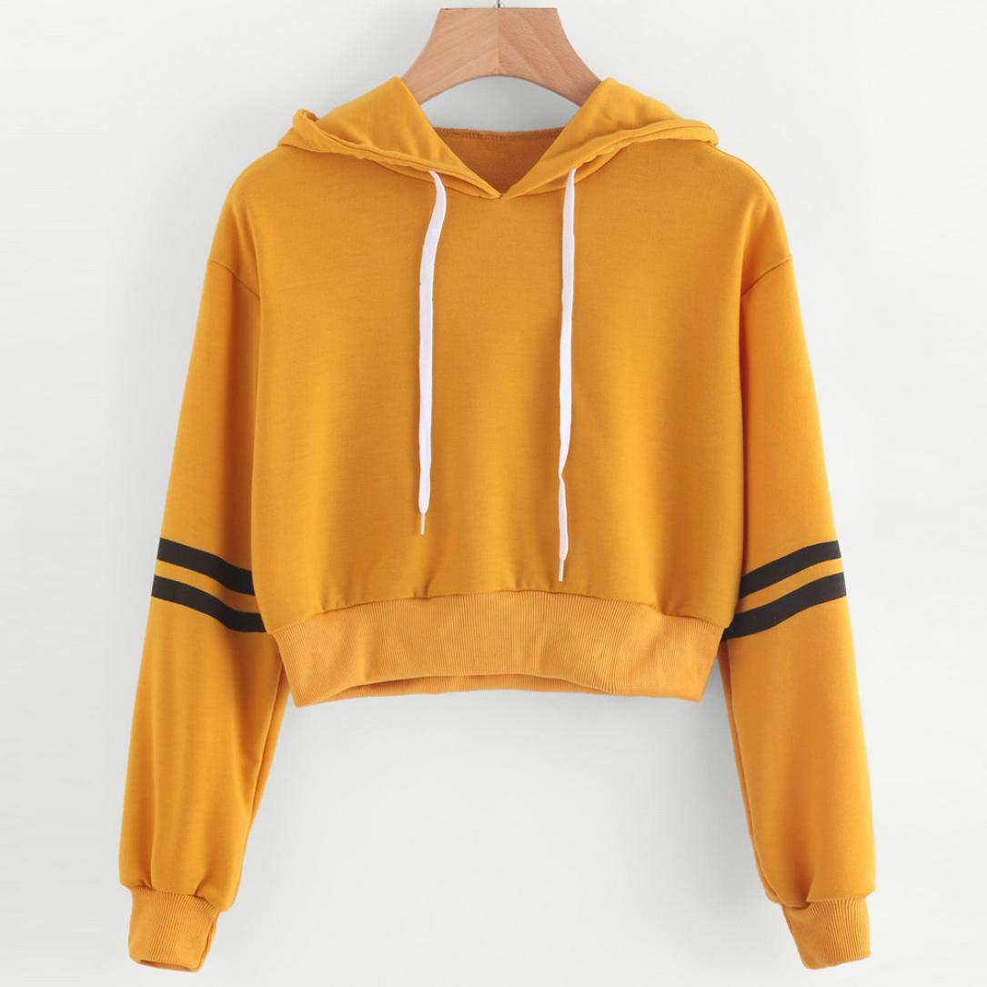 8a2965a5fb067 Amazon.com  BSGSH Hoodies Women Teen Girls Plain Striped Long Sleeve Short  Pullover Hooded Sweatshirt  Clothing