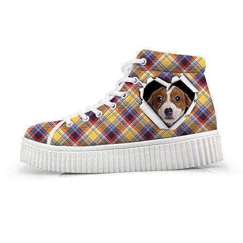 Kramar Idé Klassiska Tillfälliga Pläd Skor Plattform Sneakers Dog 6