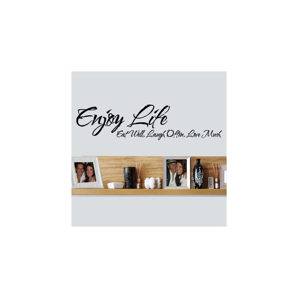 WallStickerUSA Medium Enjoy Life Eat Well Laugh Often Love Much Quote Saying Wall Sticker Decal Transfer Film 17x25