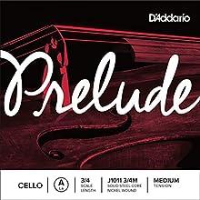 Cuerda individual La para violonchelo Prelude de D'Addario, escala 3/4, tensión media.