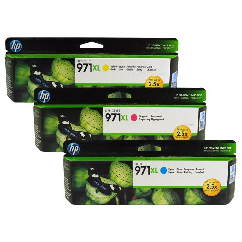 HP 971XL Color Pack Ink Cartridges (1 Cyan, 1 Magenta, 1 Yellow)