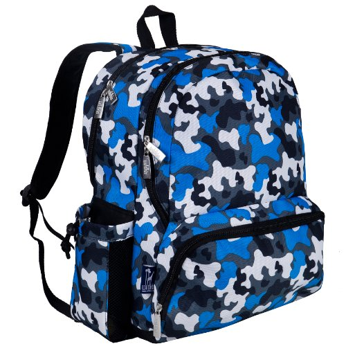 Wildkin 17 Inch Backpack, Durable Backpack with Padded Straps, Three Zippered Compartments, Moisture-Resistant Lining, and Two Side Pockets – Blue Camo