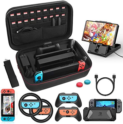 HEYSTOP Case & Accessories Kit for Nintendo Switch, 12 in 1 Switch Carry Case, PlayStand, Joycon Steering Wheel, Joycon Grip, Screen Protector, Protective Case Cover, Thumb Grips (Black)