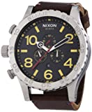Nixon 51-30 Black Dial SS Leather Chrono Quartz Male Watch A124-019