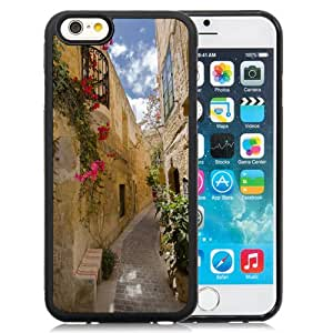 Beautiful Unique Designed iPhone 6 4.7 Inch TPU Phone Case With Old City Alley Flowers_Black Phone Case